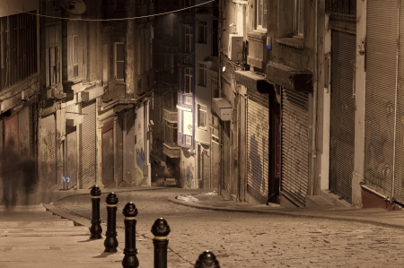 Dark street in night, Istanbul, Turkey photo