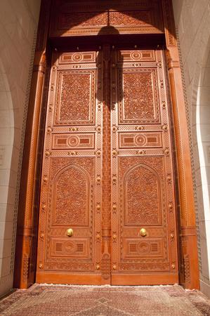 muscat: Wooden door of Sultan Qaboos Grand Mosque in Muscat, Oman