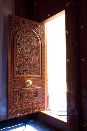 wood door: Wooden door of Sultan Qaboos Grand Mosque in Muscat, Oman
