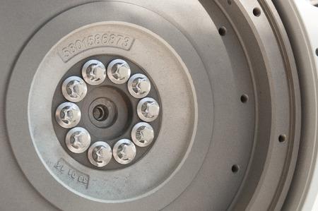 flywheel: Detail of  flywheel on the modern tractor engine