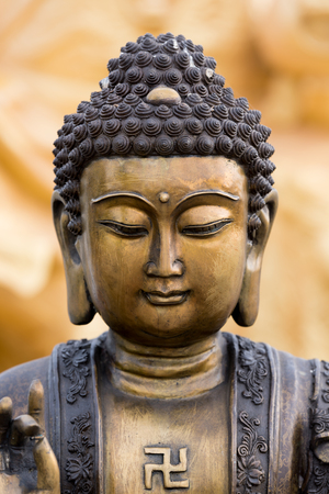 head stones: Buddha statue buddha image used as amulets of Buddhism religion Stock Photo