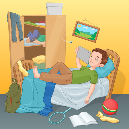 Lazy boy lying on bed with tablet. Vector illustration. Vettoriali