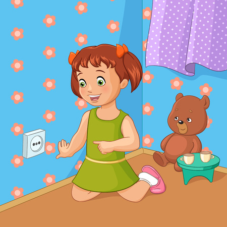 Little girl touching socket. Vector cartoon illustration.