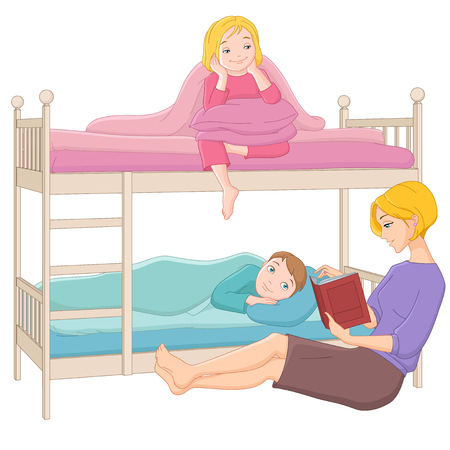 bunk bed: Mother reading a book to her children. Vector illustration isolated on white background.