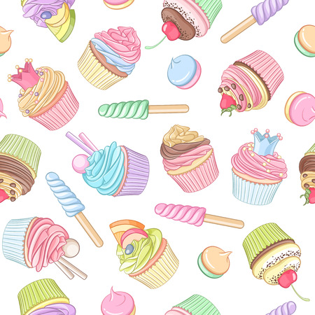 Colorful cupcake lollipop marshmallow seamless pattern. Vector illustration.