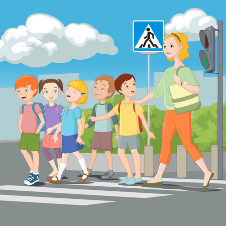 Kids crossing road with teacher. Vector illustration.