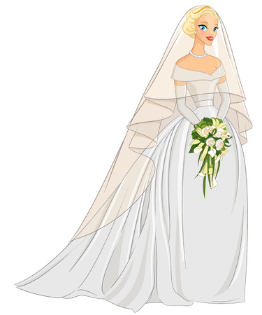 veil: Blonde bride with veil and bouquet. Vector illustration isolated on white background. Illustration