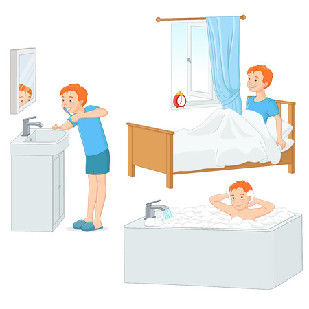 morning routine: Cut young boy doing his morning routine. Vector illustration isolated on white background. Illustration