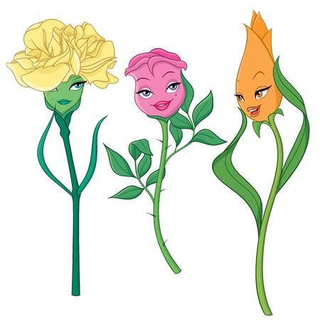 flores de dibujos animados de fantasía: clavel, rosa y tulipán. Ilustración del vector aislado en el fondo blanco.