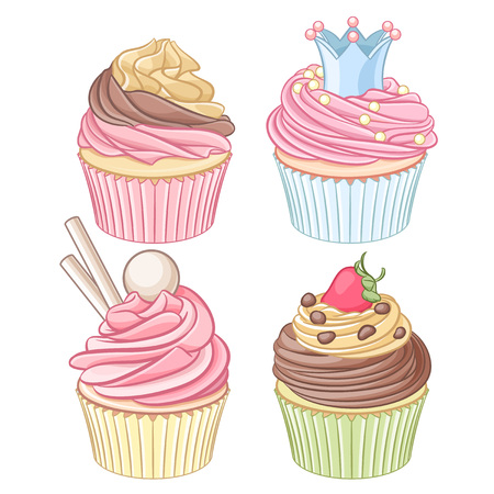 cupcakes isolated: A set of colorful cupcakes. Vector illustration isolated on white background.