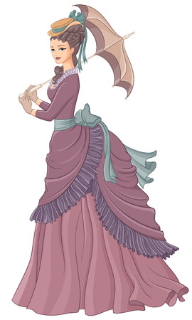 antique fashion: Antique dressed lady with umbrella. Victorian style fashion vector illustration isolated on white background.