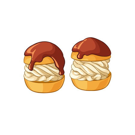 puff pastry: Profiteroles. Vector illustration isolated on white background.