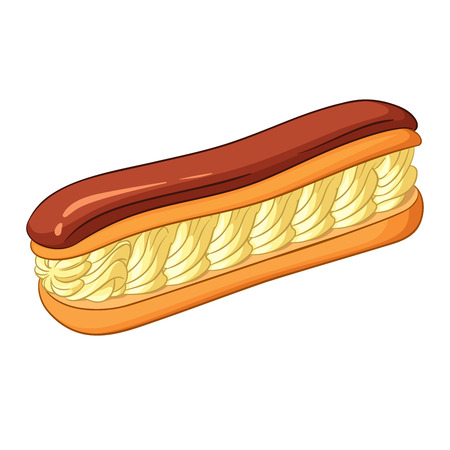 cream filled: Eclair pastry filled with a cream and topped with chocolate icing. Vector illustration isolated on white background. Illustration