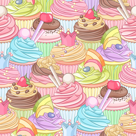 Different colorful cupcakes dense seamless pattern Vettoriali