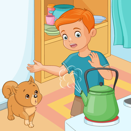 Young boy with puppy being wary of hot kettle. Vector illustration.