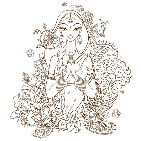 Indian girl in sari surrounded with flowers and traditional indian ornaments. Monochromatic vector lineart illustration isolated on white background.