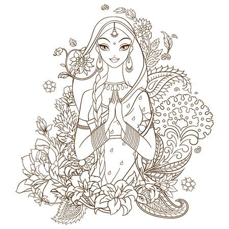 niña india en sari rodeado de flores y adornos tradicionales de la India. Monocromática lineas de ilustración vectorial aislados en fondo blanco.