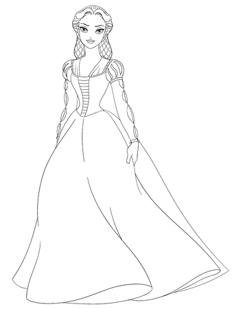 renaissance woman: Outlined medieval lady. Coloring page vector illustration.