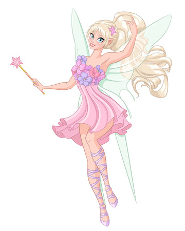 Beautiful fairy with magic wand. Vector illustration isolated on white background.