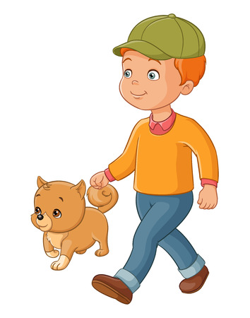 dog walking: Cute young boy walking with the dog. Vector illustration isolated on white background.