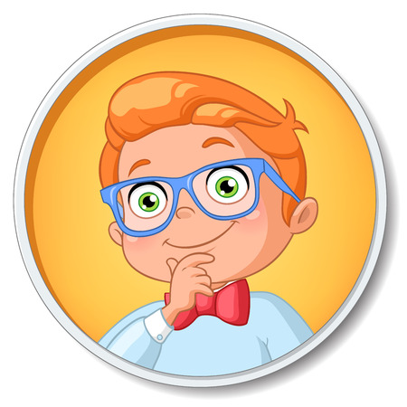 prodigy: Young smart student boy in glasses thinking. Vector illustration isolated on white background.