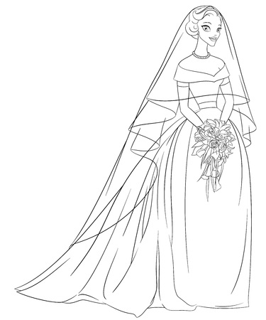 veil: Outlined bride with veil and bouquet. Print for the coloring book. Line art vector illustration. Illustration