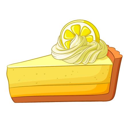 trozo de pastel: Un trozo de tarta de limón. Ilustración del vector aislado en el fondo blanco.