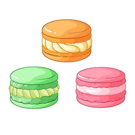 souffle: Colorful macarons dessert. Vector illustration isolated on white background. Illustration