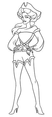 filibuster: Brave vintage dressed pirate lady. Lineart coloring page vector illustration.