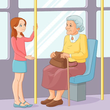 manners: Cute young girl offering a seat to an old lady in public transport. Vector illustration.