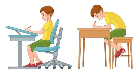 Muchacho joven estudiante escribiendo en el escritorio. Incorrecta y correcta de nuevo la posición de sentado. Ilustración del vector aislado en el fondo blanco.