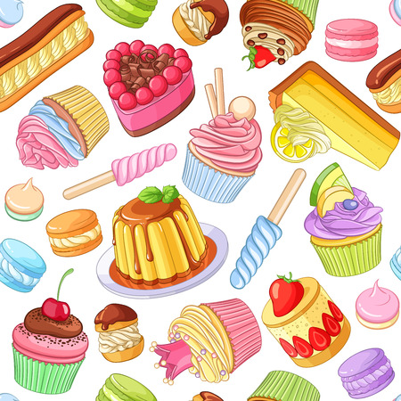 Assorted bright colorful desserts, pastries, sweets, candies, cupcakes. Seamless vector pattern isolated on white background.