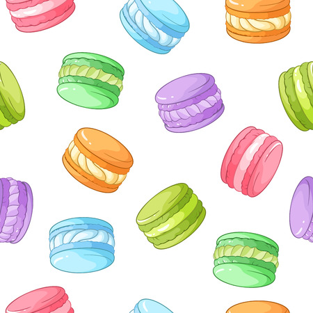 meringue: Bright colorful macarons seamless vector pattern isolated on white background.