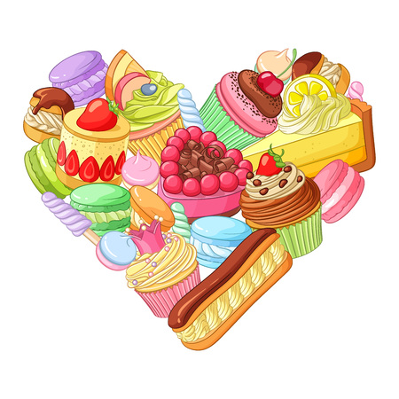 Valentines day colorful heart made of sweets, pastry and cupcakes. Vector illustration isolated on white background.