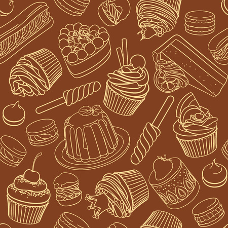 Assorted outlined desserts, pastries, sweets, candies, cupcakes and macarons. Linear seamless vector pattern isolated on brown background.