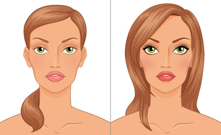 maquillage: Womans portrait before and after makeup. Vector illustration isolated on white background.