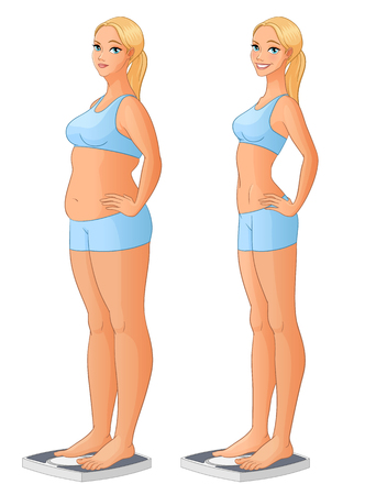 Woman standing on scale before and after weight loss. Cartoon vector illustration isolated on white background.