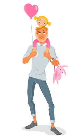Smiling father carrying his young daughter on the shoulders with balloon. Cartoon vector illustration isolated on white background.