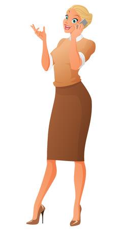 Schöne Business-Frau am Telefon sprechen. Cartoon Vektor-Illustration isoliert auf weißem Hintergrund.