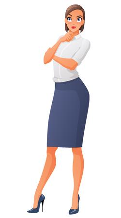 Hermosa mujer de negocios pensativa mirando hacia arriba. Ilustración del vector aislado en el fondo blanco. Ilustración de vector