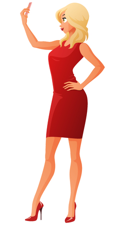 Young woman posing and taking a selfie with her mobile phone. Cartoon vector illustration isolated on white background.