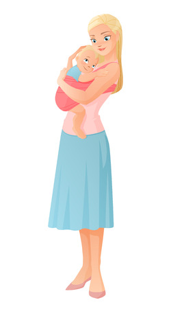 Beautiful mother holding her baby child. Vector illustration isolated on white background.