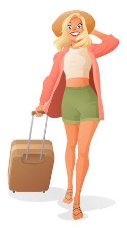 dragging: Cute smiling young woman going on vacation, dragging traveling luggage and holding her hat. Cartoon vector illustration isolated on white background.