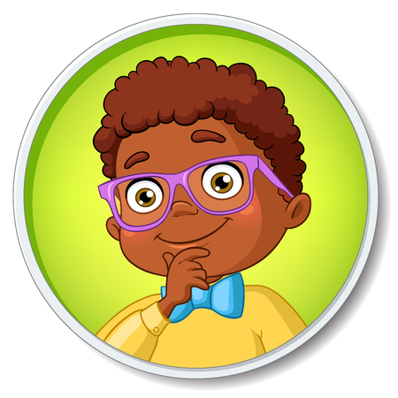 smart boy: Young smart african american student boy in glasses thinking. Cartoon vector illustration isolated on white background. Illustration