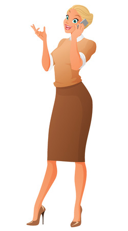 Beautiful business woman talking on phone. Cartoon vector illustration isolated on white background.