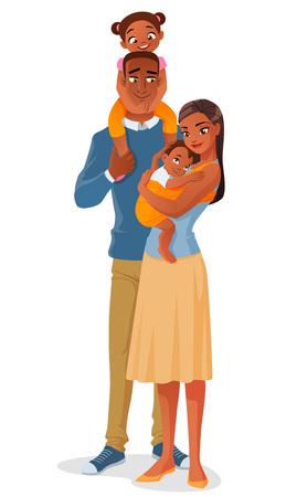 Leuke cartoon lachende Afrikaanse Amerikaanse etnische gezin met twee kinderen. Vector illustratie op een witte achtergrond.