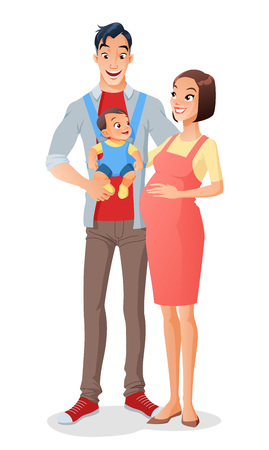 asian family: Cute smiling cartoon Asian family with a baby in carrier and expecting another child. Vector illustration isolated on white background. Illustration