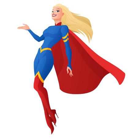 levitate: Beautiful blond superhero woman presenting. Cartoon vector illustration isolated on white background. Illustration