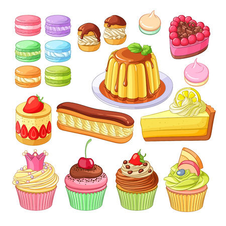 trozo de pastel: Vector conjunto de deliciosos postres coloridos macarons, profiteroles, tarta de la baya, fresa, fraisier eclair, pastel de limón, flan de caramelo, merengues y pastelitos. Vectores