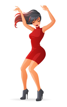 Beautiful glamorous young woman dancing on high heels. Cartoon vector illustration isolated on white background. Çizim